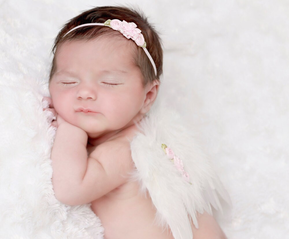 White Angel Feather Wings For Newborn Girls Andor Flower Headband