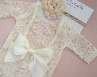 Newborn Lace Romper, unlined, in light Ivory OR in White AND/OR flower headband, Optional back bow,Lil Miss Sweet Pea