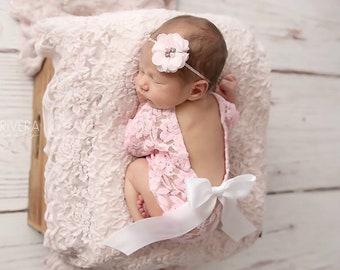 Newborn Lace Romper in White or Pink AND/OR Pink Flower Headband, low back, couture romper, photoshoot, bebe foto, Lil Miss Sweet Pea