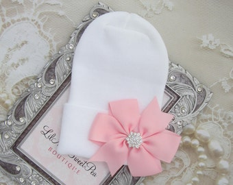 NEW white fitted top newborn hospital hat with a pink ribbon bow, latex free, take home outfit, hospital beenie, by Lil Miss Sweet Pea
