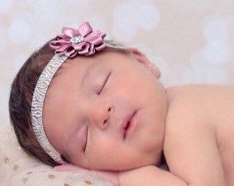 Vintage Rose Satin Flower On Gold Foil Zebra Print Elastic, Newborn Headband, Baby Photo Props, Newborn Photo Shoot by Lil Miss Sweet Pea