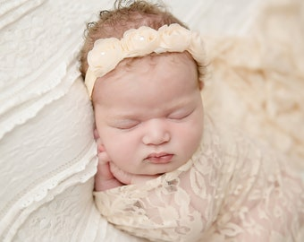 Nude stretch lace swaddle wrap AND / OR chiffon flower headband, newborn photo shoots, lace wrap, baby swaddle, bebe, by Lil Miss Sweet Pea