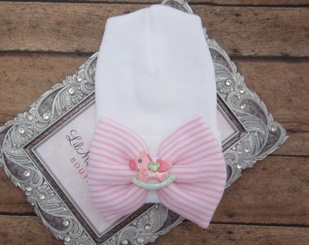 NEW fitted top newborn hospital hat, pink stripe bow with rocking horse, latex free, take home outfit, baby beenie, by Lil Miss Sweet Pea