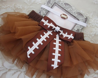 Brown Tulle Bloomers with a Football Ribbon Bow AND/OR Rhinestone Football Headband, newborn prop, Lil Miss Sweet Pea