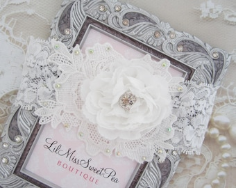 White Ruffle Flower Headband on an Appliqué with 2 Inch White Stretch Lace, photographer, newborn photo shoots by Lil Miss Sweet Pea