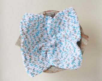 Blue, White and Taupe Chunky Basket Stuffer, for boys of girls handmade, newborn posing, photographer prop, Lil Miss Sweet Pea Boutique