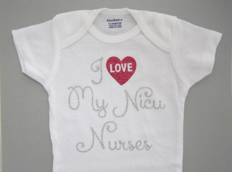premature baby girl preemie on a white one piece bodysuit Lil Miss Sweet Pea I LOVE My NICU Nurses