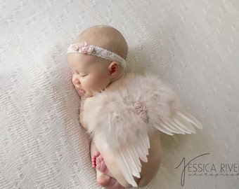 Vintage Blush Angel Baby Wings and/or Matching Vintage Lace Headband, for a teenie infant, photo shoot, baby photo, by Lil Miss Sweet Pea