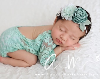 Lace Romper, mint lace with long sleeves, newborn photo, baby romper, first photos by Lil Miss Sweet Pea