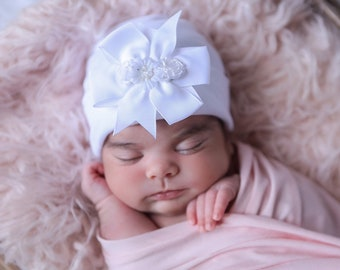 Newborn Hospital Hat, white hat with pink or lavender bow and matching ribbon flowers, baby hat, beanie, shower gift, Lil Miss Sweet Pea