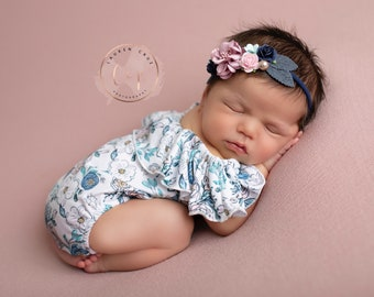 Pink and blue floral knit, off shoulder, newborn romper AND/OR our deluxe floral headband, Lil Miss Sweet Pea