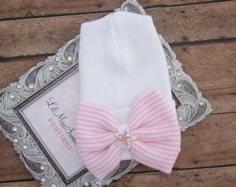 NEW fitted top newborn hospital hat, pink stripe bow with pink starfish, latex free, take home outfit, baby beenie, by Lil Miss Sweet Pea