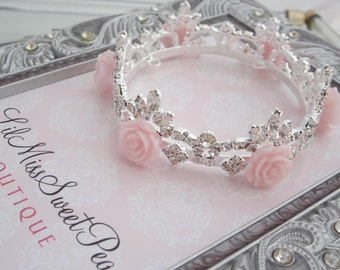 Rhinestone Baby Crown With Pink Resin Roses, newborn or maternity photo, baby crown, Austrian Crystals, newborn bebe by Lil Miss Sweet Pea