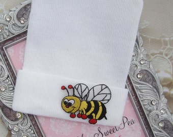 Newborn Hospital Hat, Bumble Bee Appliqué, infant beenie, baby girl hat, new baby beenie by Lil Miss Sweet Pea