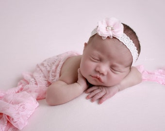 Baby Pink Stretch Lace Swaddle AND /OR Vintage Lace Headband for newborn photographs by Lil Miss Sweet Pea