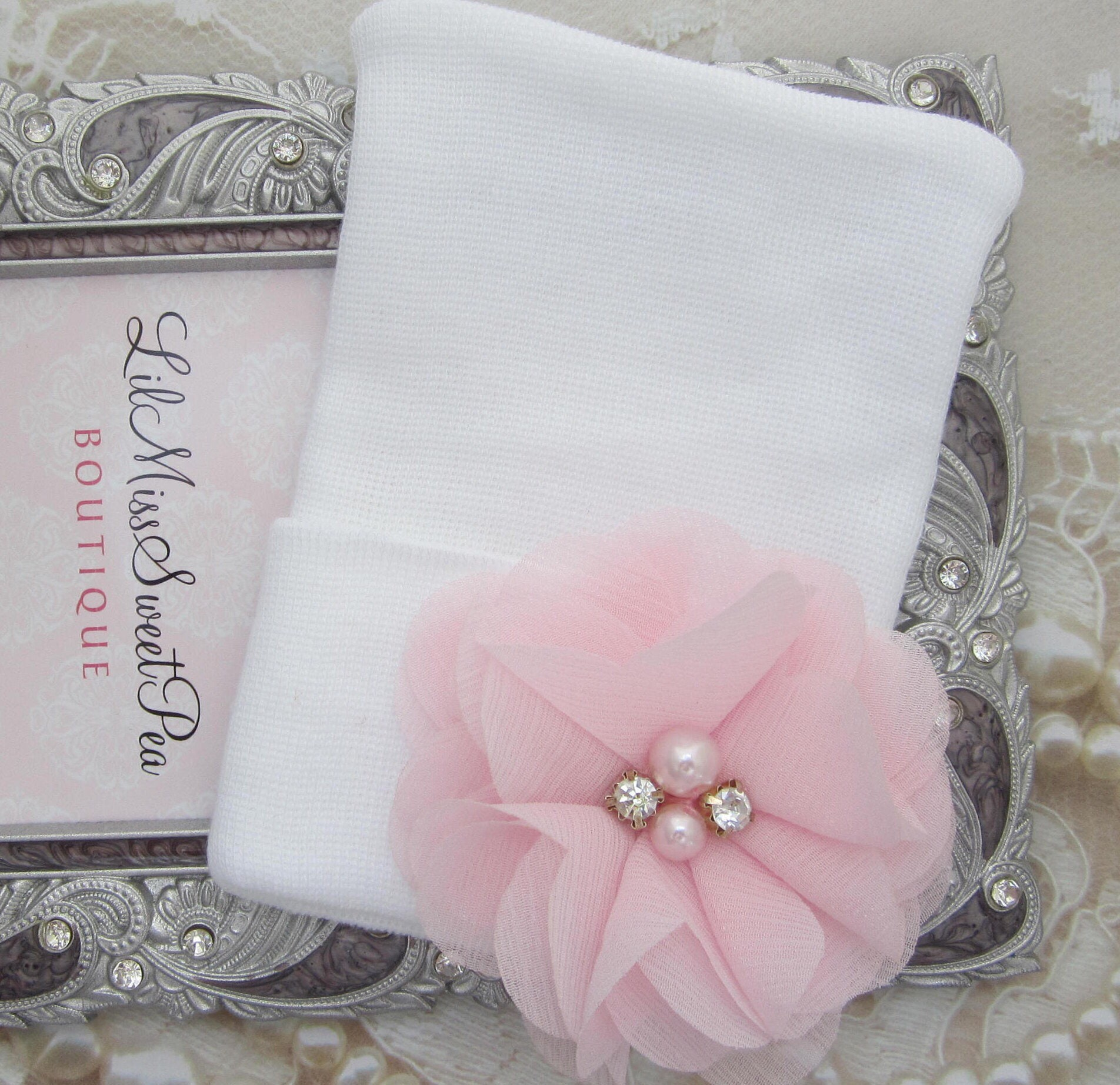 Newborn Hospital Hat White With A Pink Chiffon Flower Take Home