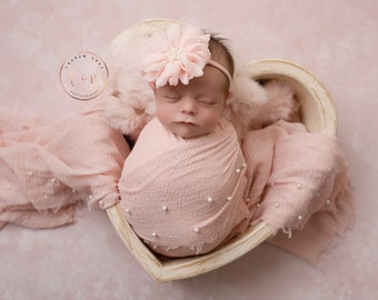 """Peachy Blush Muslin Pearl Swaddle Wrap AND/OR matching 3.75"""" chiffon floral headband, swaddle set, newborn swaddle, Lil Miss Sweet Pea"""