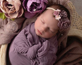 Dusty mauve newborn swaddle with wrinkled folds, perfect for a newborn photo shoot, by Lil Miss Sweet Pea
