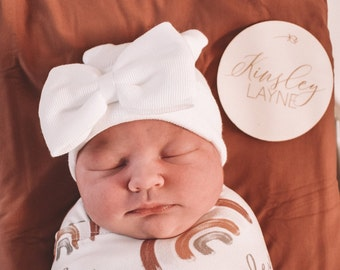 Newborn Hospital Hat, white, white bow, NO PERSONALIZATION, baby hat girl, lil miss sweet pea, infant beanie, shower gift, hat with bow