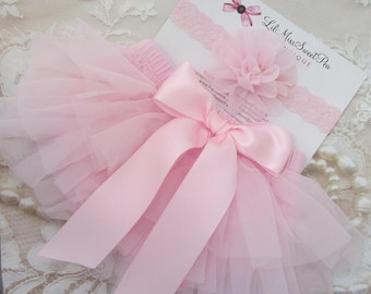 Pink Tulle Ruffle Diaper Cover / Bloomers w/Satin Bow AND/OR Lace Flower Headband, newborn, bebe, Lil Miss Sweet Pea Boutique, fotografia