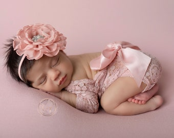 Dusty Rose Lace Romper, lace, w/sleeves, unlined, AND/OR matching 4 inch floral headband, newborn set, bebe foto, Lil Miss Sweet Pea