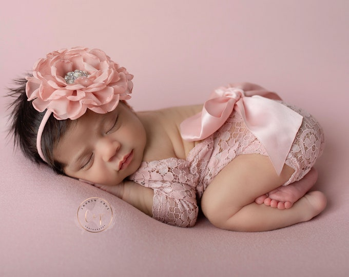 Featured listing image: Dusty Rose Lace Romper, lace, w/sleeves, unlined, AND/OR matching 4 inch floral headband, newborn set, bebe foto, Lil Miss Sweet Pea