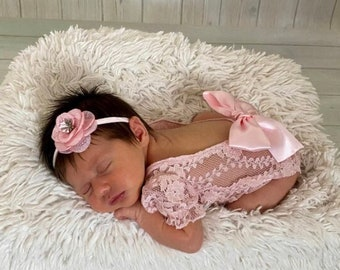 Pink Champagne Unlined Newborn Lace Romper w/ puffed sleeves, with or without a bow on the back, AND/OR flower headband, Lil Miss Sweet Pea