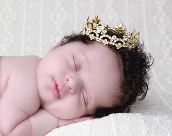 GOLD Rhinestone Baby Crown for newborn or maternity, baby crown, tiara, Austrian Crystals, photographer, ready to ship, Lil Miss Sweet Pea