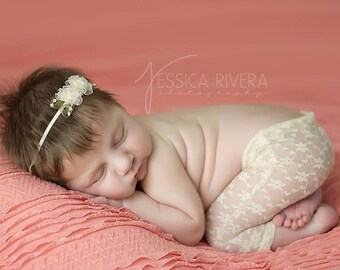Newborn Light Yellow Lace Pants for Photo Shoots with matching headband, photographer, infant lace pants, baby pants, by Lil Miss Sweet Pea