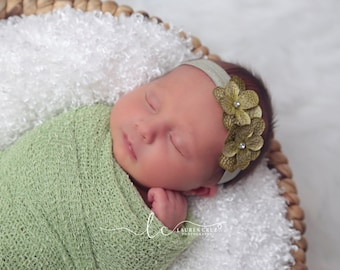 Double Hydrangea Headband, Sage color is a match for many photo shoots, perfect for photoshoots, by Lil Miss Sweet Pea