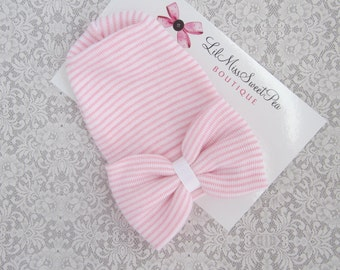PREEMIE Newborn Hospital Hat, pink and white stripe with a large fabric bow, premature hospital hat, NO PERSONALIZATION, Lil Miss Sweet Pea