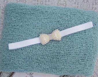 Aquamarine Stretchy Knit Wrap AND/OR Matching Rhinestone Pearl Bow Headband, newborn swaddle wrap, bebe foto, Lil Miss Sweet Pea