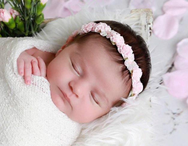 Pink Flower Halo Headband for newborn photo shoots acfd3077cf8