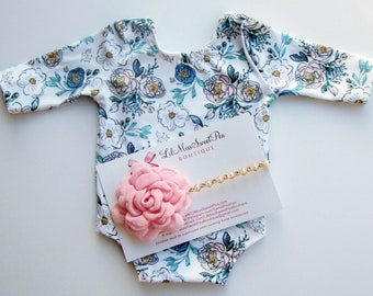 Printed Floral Stretch Jersey Newborn Romper, AND/OR matching flower headband, photoshoot, bebe, newborn photography, Lil Miss Sweet Pea