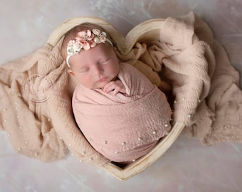 Peachy Blush or Tan Muslin Pearl Swaddle Wraps or Layering for Newborn Photos AND/OR Matching Flower Headband bebe, Lil Miss Sweet Pea