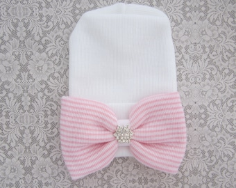 NEW fitted top newborn hospital hat, pink stripe bow with silver rhinestone star, latex free, outfit, baby beenie, by Lil Miss Sweet Pea
