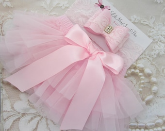 Pink Tulle Ruffle Diaper Cover / Bloomers w/Satin Bow AND/OR Lace Bow Headband, newborn, bebe, Lil Miss Sweet Pea Boutique, fotografia