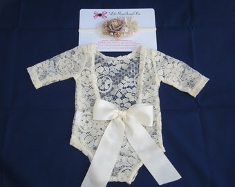 Ivory Lace Romper w/sleeves, unlined, with or without bow on lower back, AND/OR matching flower headband, newborn photos, Lil Miss Sweet Pea