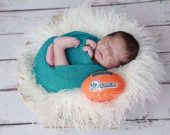 Miami Dolphin Photographer Swaddle Set - Purchase Orange or Teal Swaddle or both, sports, Miami football colors, Lil Miss Sweet Pea