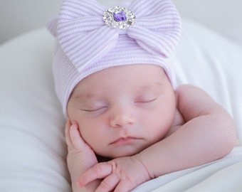 Newborn Hospital Hat, lavender and white stripes with a purple rhinestone center on the bow, baby hat, bebe, Lil Miss Sweet Pea Boutique