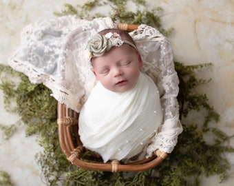 Newborn photography set consists of vintage lace layering, off white pearl swaddle AND/OR choice of headband by Lil Miss Sweet Pea