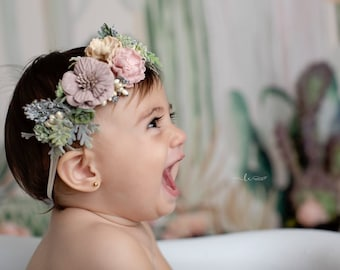 Cactus collection, succulents & greenery with pretty flowers, one size fits newborn to adult by Lil Miss Sweet Pea