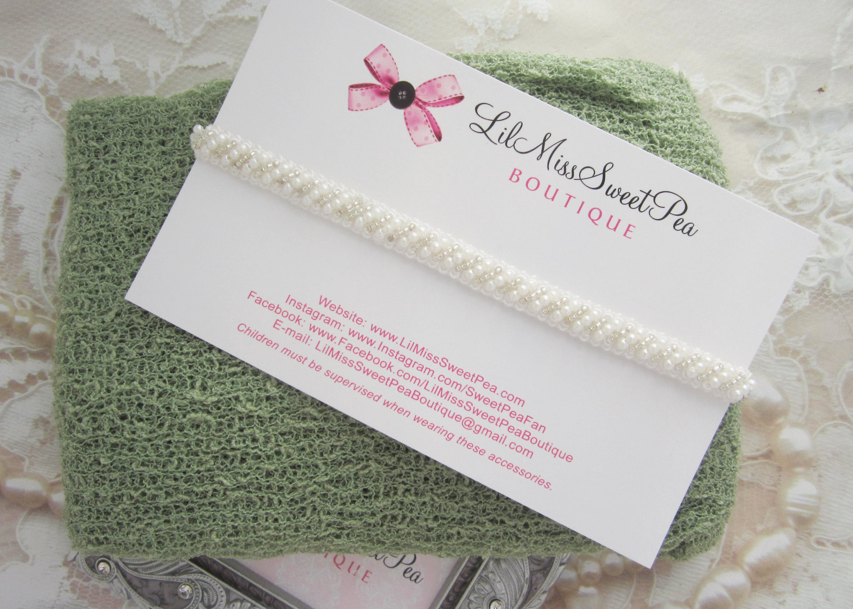 Sage Knit Swaddle Wrap AND/OR Off-white Pearl Beaded