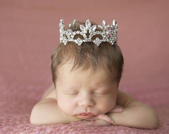 Large Rhinestone Baby Crown for newborn or maternity, baby crown, tiara, Austrian Crystals, photographer, newborn bebe by Lil Miss Sweet Pea