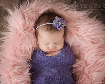 Blueberry stretch wrap AND/OR matching  floral headband for newborn photo shoots, purple, baby swaddle, ready to ship, Lil Miss Sweet Pea