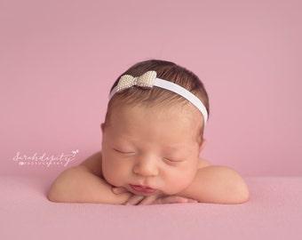 Pearl & Rhinestone Bow Headband for newborns to adults perfect for photoshoots, Baptism, Christening, newborn headband, Lil Miss Sweet Pea