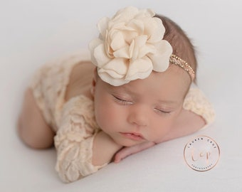 Newborn Lace Romper in Dark Ivory with a hint of Peach OR in White, Unlined, Optional Back Bow AND/OR flower headband, Lil Miss Sweet Pea