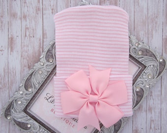 Newborn hospital hat, pink and white stripes, with grosgrain ribbon bow, baby hat, lil miss sweet pea, infant beanie, baby shower gift, bebe