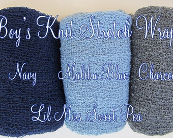 Boys Stretch Knit Wraps - measure 12x55 inches laying flat and up to 39 x 72 in. when stretched, Blue, Grey or Navy, by Lil Miss Sweet Pea