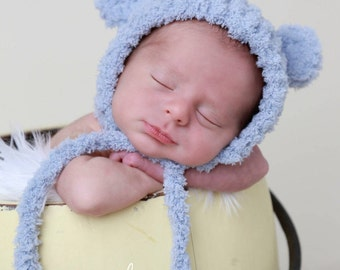 Bear Hat with Ears for boys or girls, 3 colors, brown, blue-grey, beige, soft textured, newborns 0-3, ready to ship, Lil Miss Sweet Pea